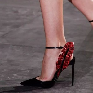 Black Patent Leather Ankle Strap Heels Ruffle Slingback Pumps