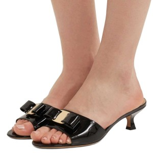 Black Patent Leather Bow Kitten Heels Mule Sandals