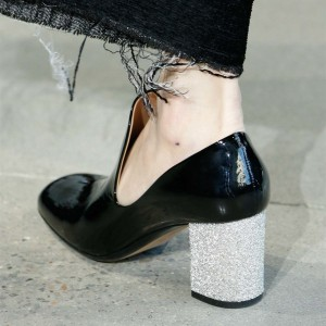 Black Patent Leather Chunky Heel Loafers for Women
