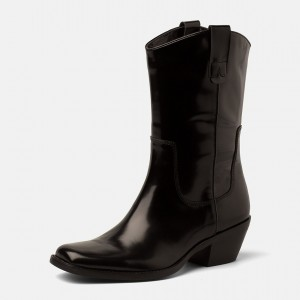 Black Western Boots Vegan Leather Chunky Heel Mid Calf Boots