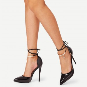 Black Patent Leather Closed Toe Metal Strappy Heels Office Pumps