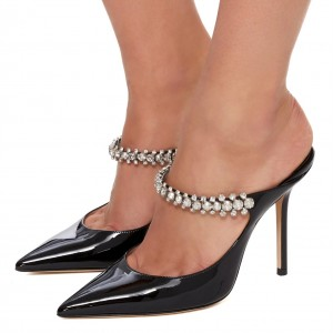Black Patent Leather Crystal Embellished Stiletto Heel Mules