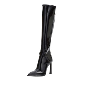 Black Patent Leather Fashion Boots Chunky Heel Boots