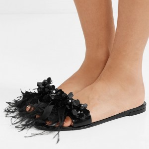 Black Patent Leather Flower Feather Women's Slide Sandals