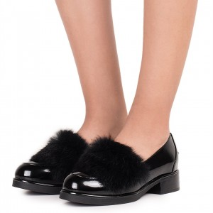 Black Patent Leather Furry Loafers For Women