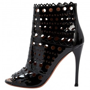 Black Patent Leather Hollow Out Peep Toe Stiletto Heel Ankle Booties
