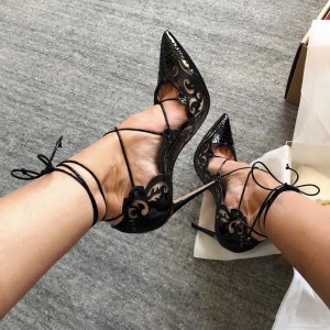 Black Patent Leather Hollow Out Strappy Heels Pumps