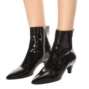 Black Patent Leather Kitten Heel Boots Pointy Toe Ankle Boots