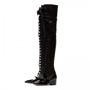Black Patent Leather Lace Up Boots Over The Knee Boots