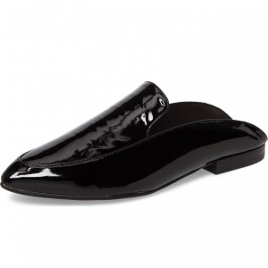 Black Patent Leather Casual Loafer Mules Flat Loafers for Women