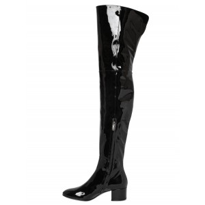 Black Patent Leather Long Boots Chunky Heels Over-the-knee Boots