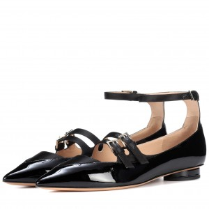 Black Patent Leather Mary Jane Shoes Three Strap Pointy Toe Flats
