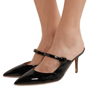 Black Patent Leather Mary Jane Style Stiletto Heel Mules