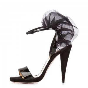 Black Patent Leather Mesh Cone Heel Ankle Strap Sandals