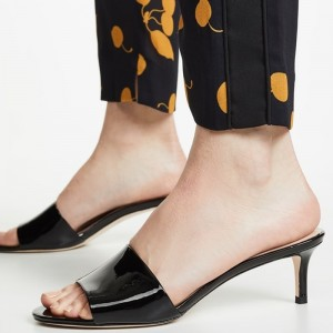 Black Patent Leather Mules Kitten Heels