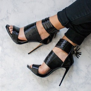 Women's Black Open Toe Stiletto Heels Tassels Ankle Strap Sandals