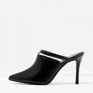 Black Patent Leather Pointy Toe Cut out Stiletto Heels Mule