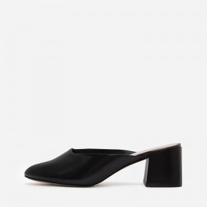 Black Patent Leather Round Toe Block Heel Mule