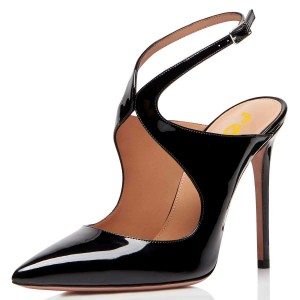 Black Patent Leather Slingback Pumps Stiletto Heel Pointy Toe