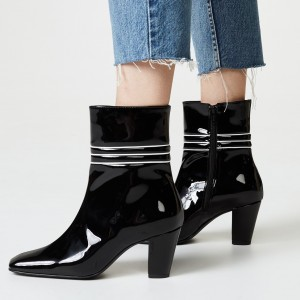 Black Patent Leather Square Toe Chunky Heels Zipper Ankle Booties