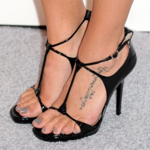 Black Patent Leather Stiletto Heel T Strap Sandals