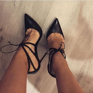 Black Vegan Oily Leather Pointy Toe Stiletto Heels Pumps