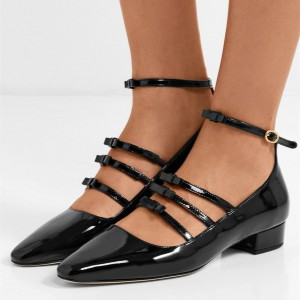 Black Patent Leather Tri-straps Ankle Strap Block Heel Mary Jane Pumps