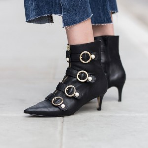 Black Pearl Buckles Kitten Heel Boots Fashion Ankle Booties with Zip