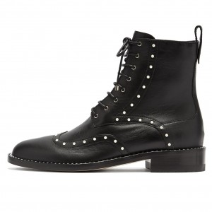 Black Pearl Lace Up Boots