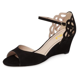Black Peep Toe Ankle Strap Hollow Out Wedge Sandals