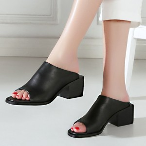 Black Peep Toe Block Heels Mule Heels Sandals