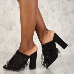 Black Peep Toe Feather Chunky Heels Mules Sandals