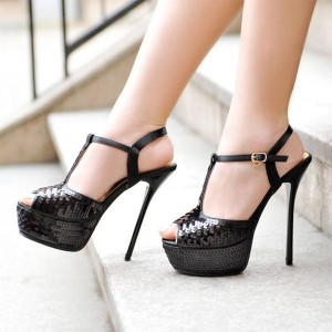 Black Peep Toe Heels Sequined Platform T Strap Slingback Sandals