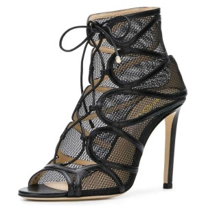 Black Peep Toe Nets Lace Up Stiletto boots