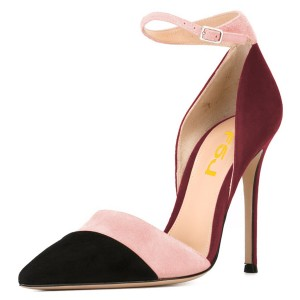 Black Pink and Plum Pointy Toe Stiletto Ankle Strap Heels Pumps
