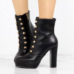 Black Platform Chunky Heel Boots Rivets Lace Up Ankle Booties