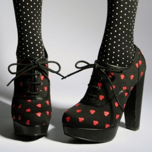 Black Cute Platform Lace Up Red Hearts Chunky Heel Boots