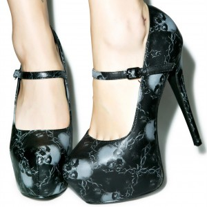Black Platform Mary Jane Shoes Skeleton Print Stiletto Heel Pumps