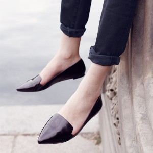 Black Pointed Toe Comfortable Flats School Shoes