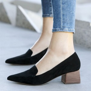 Black Pointy Toe Block Heel Loafers for Women Suede Shoes