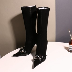 Black Pointy Toe Buckle Crystal Stiletto Heel Fashion Boots