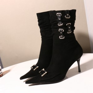 Black Pointy Toe Buckle Pearl Stiletto Heel Slouch Boots
