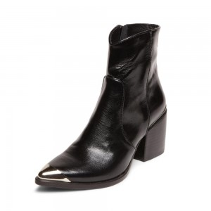 Black Pointy Toe Chunky Heel Boots Vegan Leather Ankle Booties