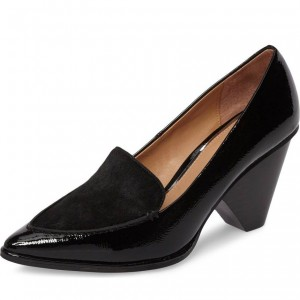 Black Pointy Toe Cone Heel Patent Leather Loafers for Women