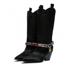 Black Pointy Toe Crystal Cowgirl Boots Block Heel Mid Calf Boots