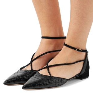 Black Pointy Toe Flats Python Ankle Strap Shoes