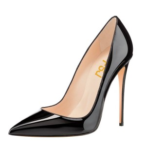 Black Pointy Toe Office Heels Patent Leather Stiletto Heel Pumps