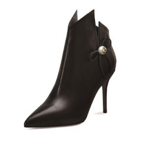 Black Pointy Toe Pearl Bowknot Stiletto Heel Ankle Booties