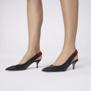 Black Pointy Toe Slingback Heels Kitten Heels Office Shoes