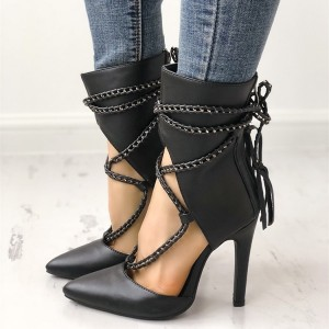 Black Pointy Toe Stiletto Heels Strappy Ankle Booties